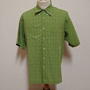 💎 Izod green button down shirt men size large